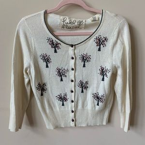 Anthro Field Flower embroidered tree cardigan 1790